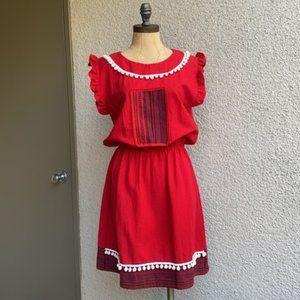 Vintage Pom Pom Peasant Dress